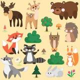 Комплект вектора животных леса Стоковое Изображение