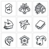 Комплект вектора жизни на значках необитаемого острова Робинсон Crusoe, абориген, пятница, плавание, Palma, римское, попугай, хат Стоковые Фотографии RF