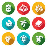 Комплект вектора жизни на значках необитаемого острова Робинсон Crusoe, абориген, пятница, плавание, Palma, римское, попугай, хат Стоковая Фотография RF