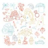 Комплект вектора законспектированных значков, знаков и символов ` s валентинки Стоковая Фотография
