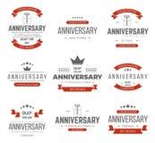 Комплект вектора знаков годовщины, символов стоковая фотография rf