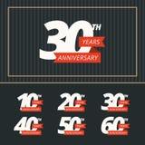 Комплект вектора знаков годовщины Стоковые Фотографии RF