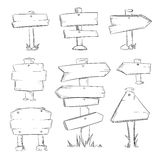 Комплект вектора знаков дороги doodle шаржа деревянный иллюстрация вектора