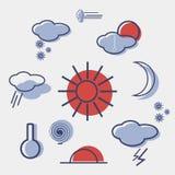 Комплект вектора значка погоды плоский Стоковое Изображение RF