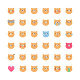Комплект вектора значка emoji медведя Плоские милые изолированные смайлики Стоковые Изображения