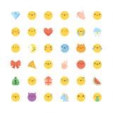 Комплект вектора значка Emoji Плоским милым корейским смайлики изолированные стилем Стоковые Фотографии RF