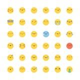 Комплект вектора значка Emoji Плоско корейские смайлики стиля Стоковое Фото