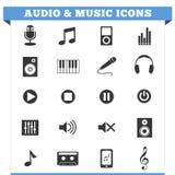 Комплект вектора значков аудио и музыки Стоковые Изображения
