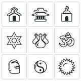 Комплект вектора значков вероисповедания католическо бесплатная иллюстрация
