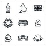 Комплект вектора значков Великобритании Башня, часы, территория, флаг, Европейский союз, шина, фунт, констебль, мост, подающий бесплатная иллюстрация