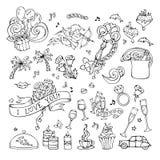 Комплект вектора значков влюбленности doodles Стоковые Изображения RF