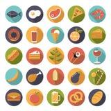 Комплект вектора значков еды Стоковые Изображения