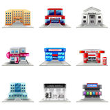 Комплект вектора значков зданий городка Стоковое Изображение RF