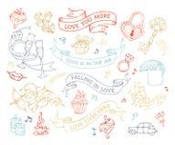 Комплект вектора значков и знаков влюбленности Стоковая Фотография RF