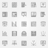 Комплект вектора значков математики Стоковые Изображения RF