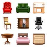 Комплект вектора значков мебели Стоковая Фотография