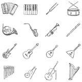 Комплект вектора значков музыкальных инструментов эскиза иллюстрация штока