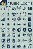 Комплект вектора 48 значков музыки Стоковые Изображения