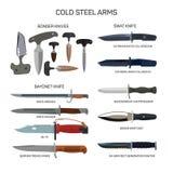 Комплект вектора значков ножей боя изолированных на белой предпосылке Ножи Bonder, нож штифта, ножи тяжёлого удара холодная сталь иллюстрация штока