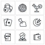 Комплект вектора значков ночного клуба Музыка, освещение, питье, игра, лекарства, ноча, защита, танцор, финансы Стоковая Фотография RF