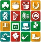 Комплект вектора значков дня St. Patrick плоский Стоковые Фотографии RF