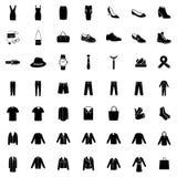 Комплект вектора 49 значков одежд иллюстрация штока