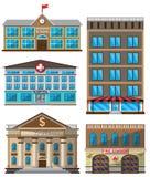 Комплект вектора значков плоских зданий декоративных
