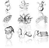 Комплект вектора значков рождества Стоковое Изображение