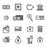 Комплект вектора значков связанных деньгами законспектированных Иллюстрация штока