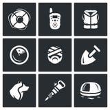 Комплект вектора значков спасательной службы Lifebuoy, радио, спасательный жилет, радиолокатор, жертва, лопаткоулавливатель, соба Стоковое Изображение RF