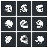 Комплект вектора значков спорт шляпы, крышки и держателя иллюстрация вектора
