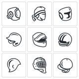 Комплект вектора значков спорт шляпы, крышки и держателя Kudo, тайское Muay, кладя в коробку, бейсбол, гонки мотора, американский иллюстрация вектора