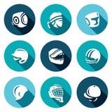 Комплект вектора значков спорт шляпы, крышки и держателя Kudo, тайское Muay, кладя в коробку, бейсбол, гонки мотора, американский бесплатная иллюстрация