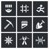 Комплект вектора значков тюрьмы Пленник, задержание, клетка, избежание, работа, смерть, штраф, Похитител-в-закон, вредительство,  иллюстрация штока