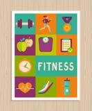 Комплект вектора значков фитнеса на поздравительной открытке Стоковые Фото