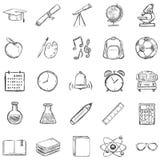 Комплект вектора 25 значков школы эскиза Стоковое Изображение RF