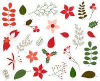 Комплект вектора листвы рождества Иллюстрация штока