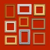 Комплект вектора картинных рамок Стоковые Изображения
