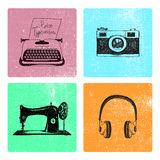 Комплект вектора карточек нарисованных рукой ретро винтажных с объектами Стоковые Фото