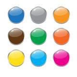 Комплект вектора кнопки цвета Стоковые Изображения RF