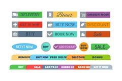Комплект вектора кнопок магазина Стоковое Изображение