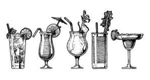 Комплект вектора коктеиля спирта иллюстрация вектора