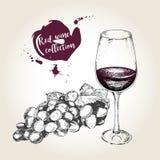 Комплект вектора красного вина в винтажном стиле Бутылка, стекло и виноградина Польза для ресторана, кафа, магазина, еды, меню, д Стоковая Фотография