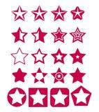 Комплект вектора красных значков звезды Стоковое Изображение RF