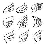 Комплект вектора крылов ангела шаржа Сделайте эскиз к изолированным эмблемам подогнали doodle, который абстрактным на белой предп иллюстрация штока