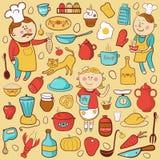 Комплект вектора кухни, элементы шаржа красочные Стоковые Изображения RF