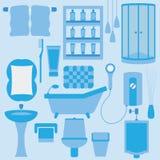 Комплект вектора мебели в ванной комнате Стоковое Изображение