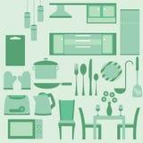 Комплект вектора мебели в kitchenroom Стоковое Изображение