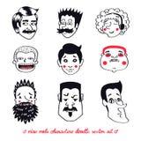 Комплект вектора мужских характеров в стиле шаржа doodle Стоковые Изображения RF