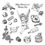 Комплект вектора нарисованного рукой винтажного собрания валентинки и дня свадьбы Стоковые Изображения